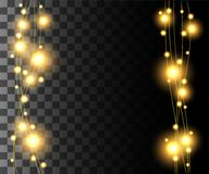 Vertical glowing light yellow bulbs design for holidays garlands christmas decorations effect isolated on the transparent backgrou. Nd website page game and Stock Image
