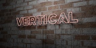 VERTICAL - Glowing Neon Sign on stonework wall - 3D rendered royalty free stock illustration Royalty Free Stock Images