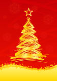 Vertical gold christmas fir tree Royalty Free Stock Photography