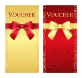 Vertical gold and red voucher with ribbon and swir Stock Image
