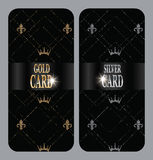 Vertical gold and silver cards with fleur-de-lis and crowns Stock Image