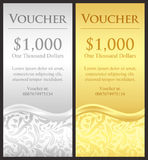Vertical gold and silver gift certificate with vic Stock Image