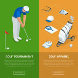 Vertical Golf Club banners with golf tournament and apparel, championship. Flat vector illustration for website or Stock Photo