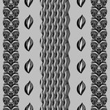 Vertical gray stripes of abstract hand-drawn shapes. Royalty Free Stock Photo