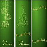Vertical green christmas backgrounds. Three vertical ornated green and gold Christmas or New Year backgrounds Stock Photography