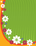 Vertical green flower background. Green background with orange curve and multicolor flower design Royalty Free Stock Photography