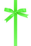Vertical green ribbon with bow from above Royalty Free Stock Image