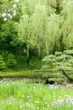Vertical green trees, bridge, flowers in park Royalty Free Stock Photo