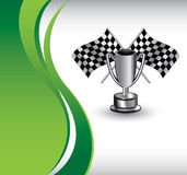 Vertical green wave racing flags and trophy. Checkered flags and trophy vertical green wave background Stock Images