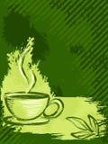 Vertical grungy green tea background Stock Photos