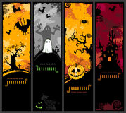Vertical halloween banners. Set of four cute halloween banners with haunted house, bats and jack o' lantern Royalty Free Stock Image
