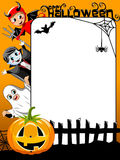 Vertical Halloween Frame Kids in Costume Stock Photo