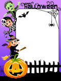 Vertical Halloween Frame Kids in Costume Royalty Free Stock Photo