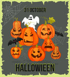 Vertical Halloween grunge banners with pumpkin Royalty Free Stock Images