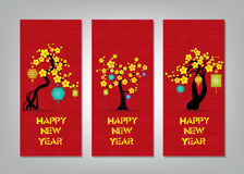 Vertical Hand Drawn Banners Set with Chinese New Year Stock Photo