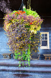 Vertical-Hanging basket full of flowers hang before an old wooden hotel. Stock Images