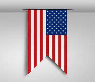 Vertical hanging US flag Royalty Free Stock Photography