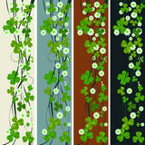 Vertical headers with St. Patrick. Vertical headers with clover leaves and flowers, St. Patrick's Day design Royalty Free Stock Photo