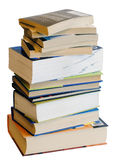 Vertical heap of colorful books isolated on white Royalty Free Stock Photography