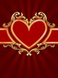 Vertical heart-shaped red banner with gold filig Stock Photos