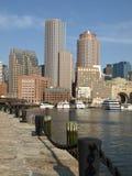 Vertical histórica de la línea de costa del puerto de Boston Fotografía de archivo