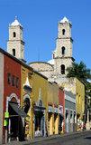 Historic Merida, Mexico. Vertical historic centro, central, area of historic Merida, Mexico. Street leading to oldest church in the Americas stock photography