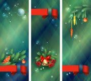Vertical holidays Christmas banners. Vertical holidays banners with Christmas tree branches, bird, Christmas balls, decorations, bell, ribbon bows, Rowan berries Royalty Free Stock Photos