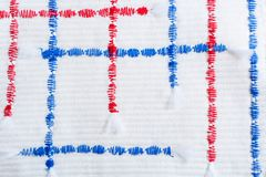 Vertical and horizontal red and blue textural zigzag seams on relief white fabric. Hand-made textile background.  Vertical and horizontal red and blue textural Stock Photo