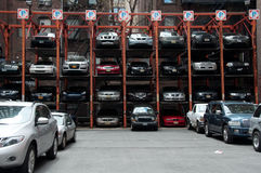 Vertical Hydraulic Parking Spaces, New York City Stock Photography