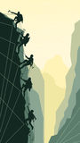 Vertical illustration of alpinists. Royalty Free Stock Photography