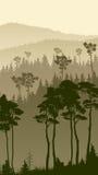 Vertical illustration of foggy forest hills. Stock Image
