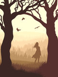 Vertical illustration within forest with silhouette girl in the. Vector illustration of tree trunks within wood with silhouette girl and meadow on edge of forest Stock Images