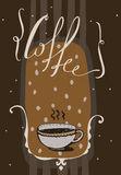 Vertical  illustration with hand drawn lettering with word Coffee Royalty Free Stock Image
