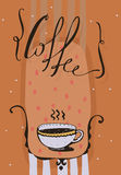 Vertical  illustration with hand drawn lettering with word Coffee, dots and hot drink in a cute cup. Orange colorful backgro Stock Images