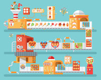 Vertical illustration of isolated conveyor for production and packaging candies, lollipops  sweets, in flat style Stock Photo