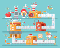 Vertical illustration of isolated conveyor to create love potion  celebrate Happy Valentines Day in flat style Royalty Free Stock Image