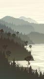 Vertical illustration of misty forest hills on rocky seashore. Stock Photos