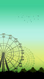 Vertical illustration of roller-coaster and Ferris Wheel. Vertical illustration of roller-coaster and Ferris Wheel from amusement park at green-blue sky Stock Image