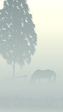 Vertical illustration of tree and horse in fog. Stock Photography