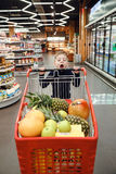 Vertical image of boy pushing shopping trolley Royalty Free Stock Images
