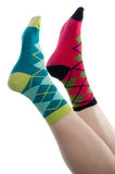 Vertical image brightly colored socks Royalty Free Stock Image