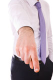 Businessman pointing with finger. Stock Images