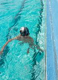 Vertical image of a children swimming and playing Stock Photo