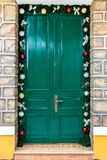 A Lovely Christmas Green Old Door stock photography