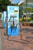 Vertical Image of Electric Charging Stations in Portland, Oregon. This is a vertical image of charging stations for electric cars in downtown Portland, Oregon on royalty free stock images