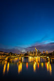 Vertical image of illuminated Frankfurt skyline at night Stock Photo