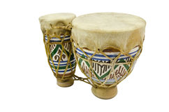 Bongos. Vertical image of isolated bongo drums stock images