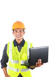Vertical image of man asian engineer with laptop Royalty Free Stock Image