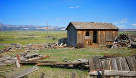 Vertical Image of An Old Wooden Shack in Utah Royalty Free Stock Images