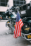 9/11/2012 - Vertical image of police bike stock photos